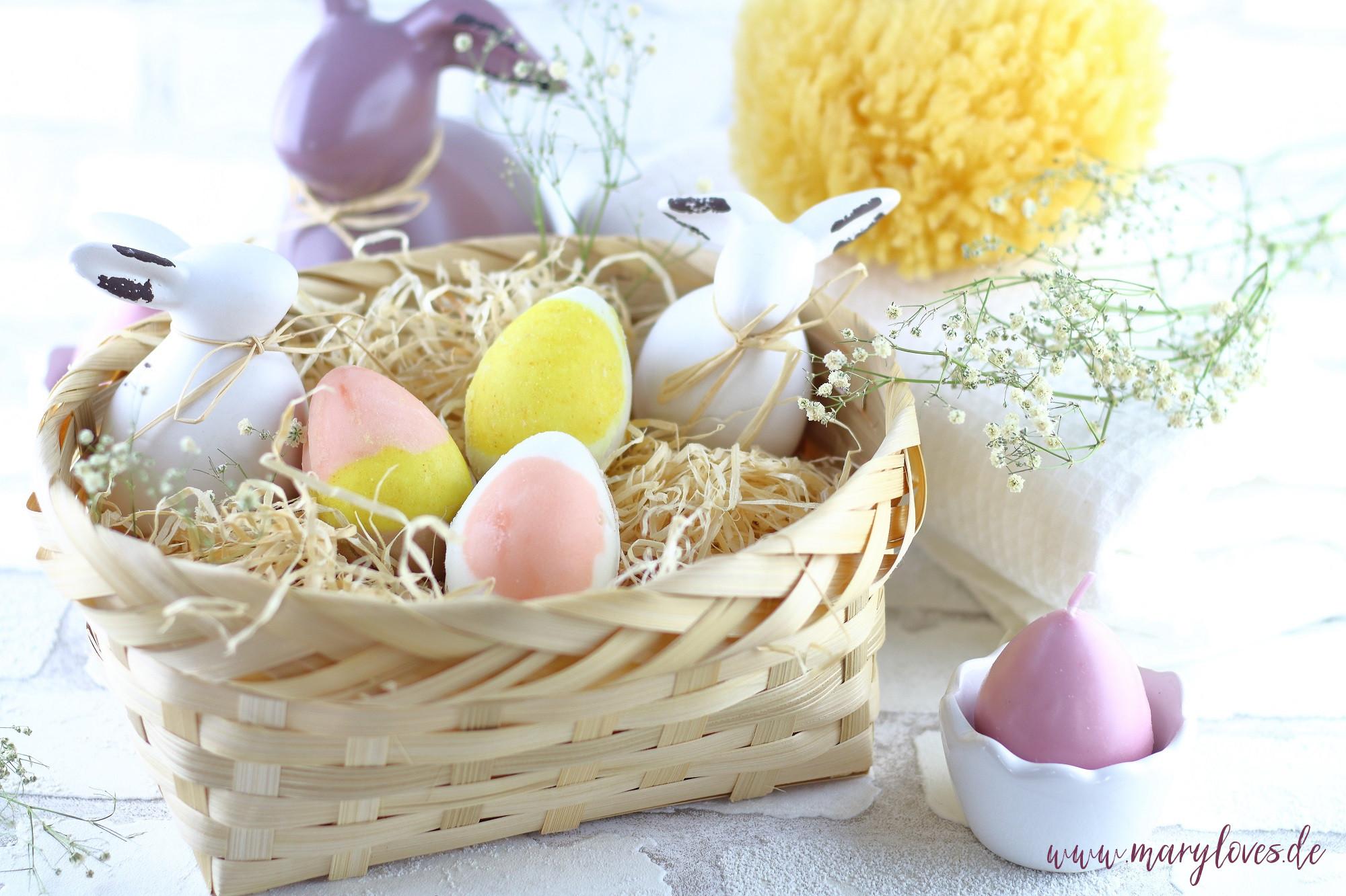 Bunte Ostereier-Badebomben als selbstgemachtes Ostergeschenk - Mary loves