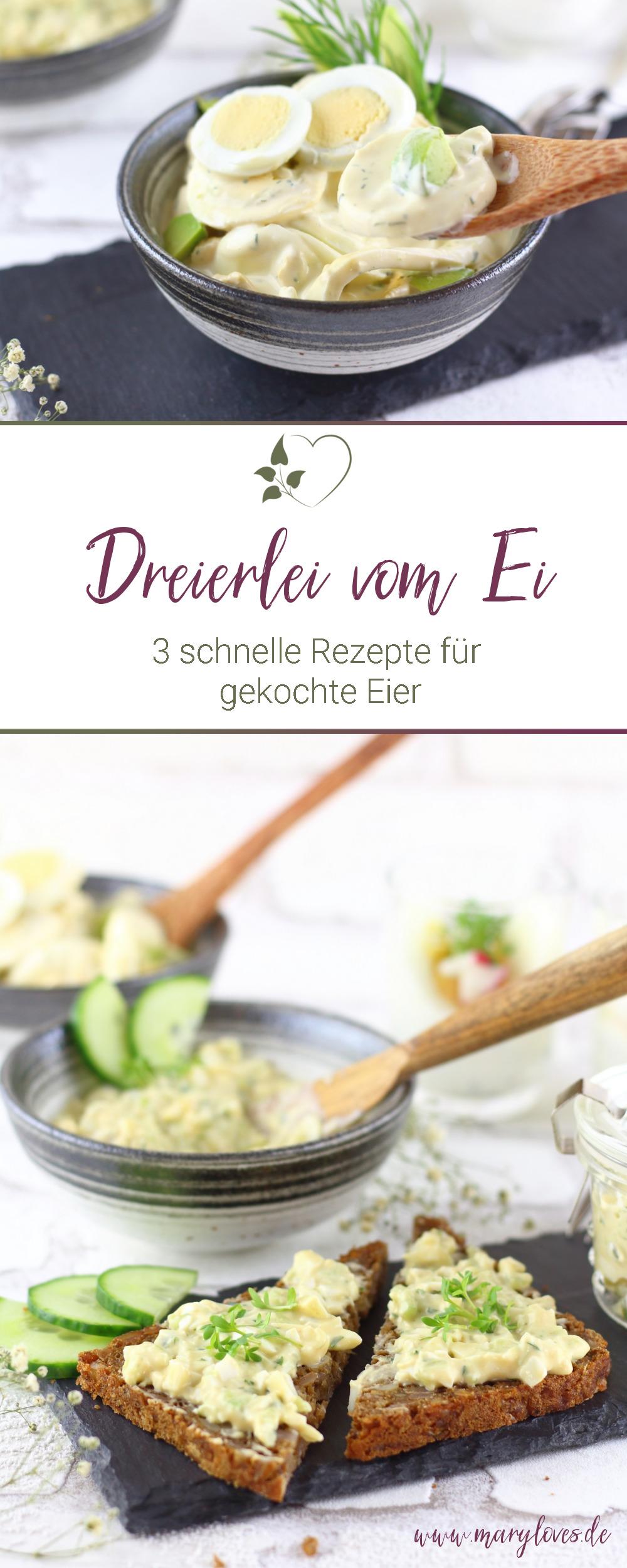Dreierlei vom Ei - 3 einfache Rezepte für gekochte Eier - #ostereier #eierrezept #eierverwertung #gekochteeier #eiersalat #eieraufstrich #eiimglas #vegetarisch