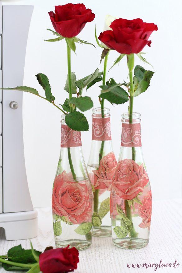 DIY Blumenvasen mit Serviettentechnik