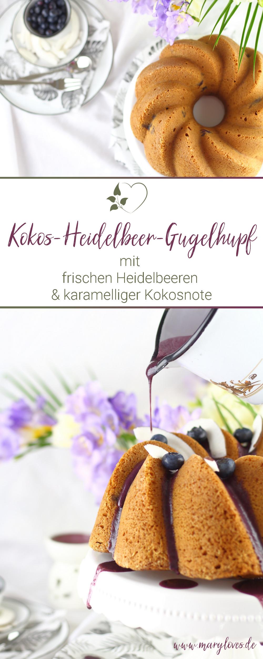[Anzeige] Kokos-Heidelbeer-Gugelhupf mit frischen Beeren & karamelliger Kokosnote - #kokosheidelbeergugelhupf #gugelhupf #kuchen #zuckerfrei #zuckerfreibacken