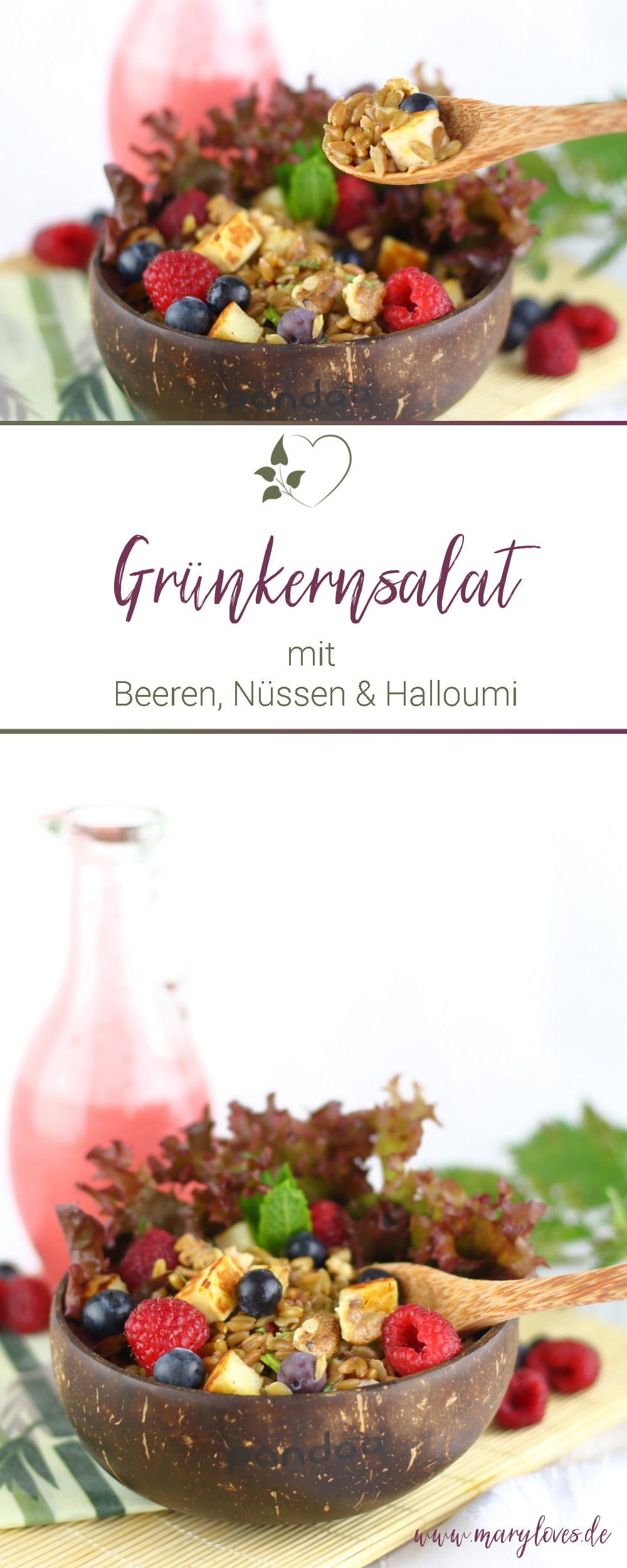[Anzeige] Sommerlicher Grünkernsalat mit Beeren, Nüssen & Halloumi - #sommersalat #salat #grünkern #grünkernsalat #sommerrezept #grillsalat