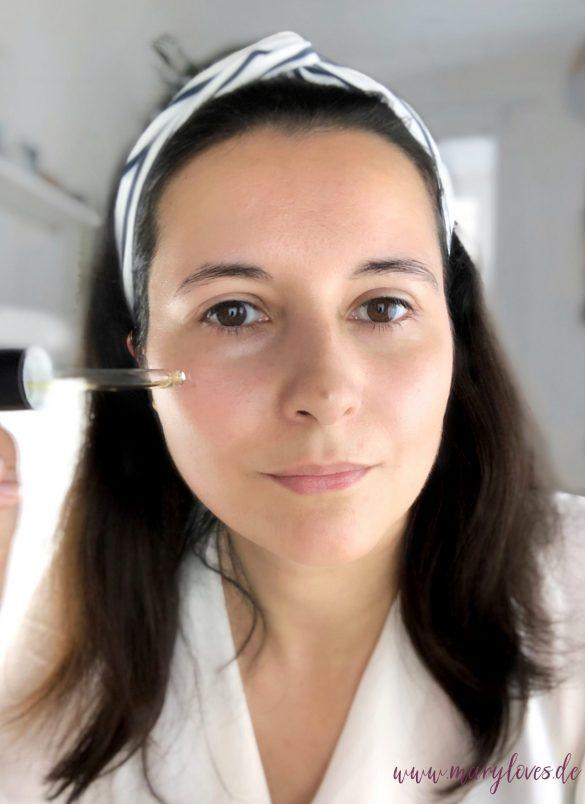 Vorbereitung für ein leichtes Sommer-Make-up mit dem regenerierenden Gesichtsöl von GRN – shades of nature