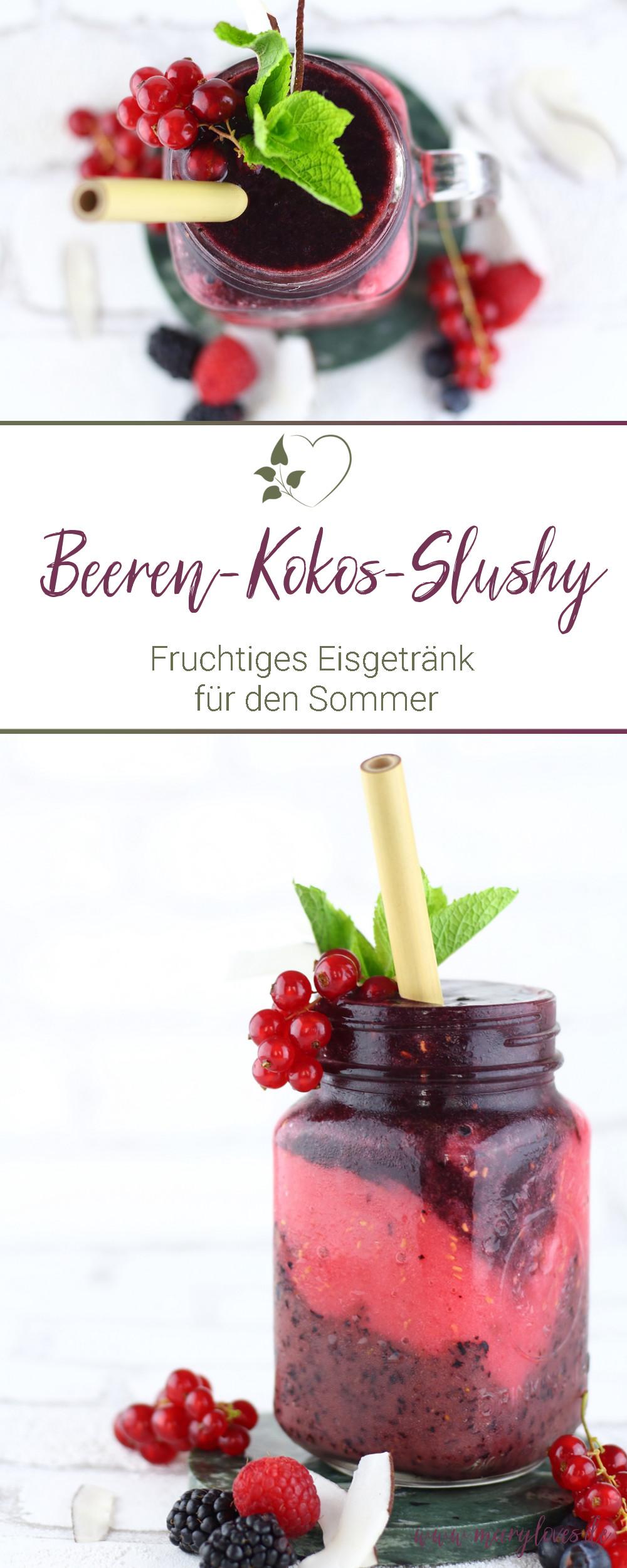 Fruchtiges Eisgetränk - Beeren-Kokos-Slushy - #slushy #slusheis #beerenslushy #slushyselbermachen #zuckerfrei #vegan #eisgetränk