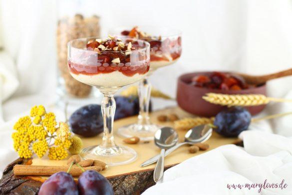 Leckeres im Herbst: Mandelgrießbrei mit Pflaumenkompott – vegan & zuckerfrei