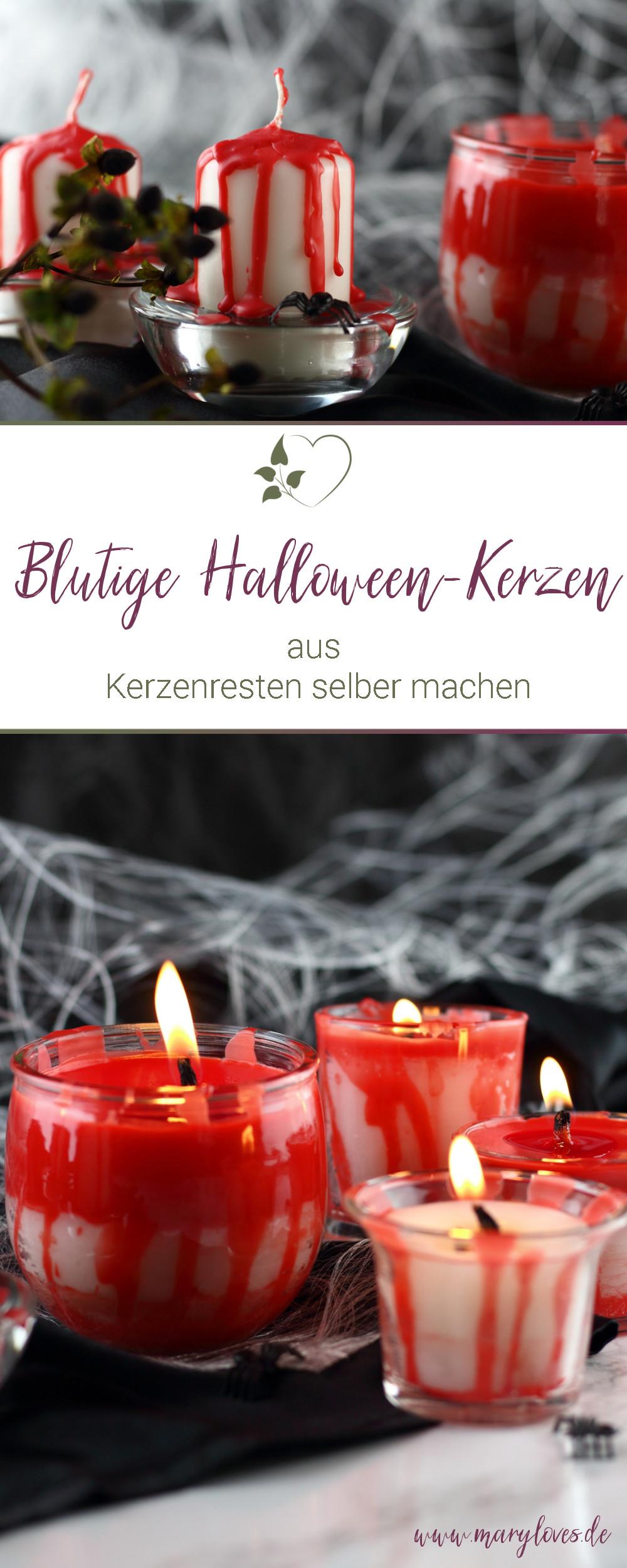 Blutige Halloween-Kerzen aus Kerzenresten selber machen - #halloween #halloweendeko #halloweenkerzen #blutigekerzen #kerzen #diykerzen #kerzenreste