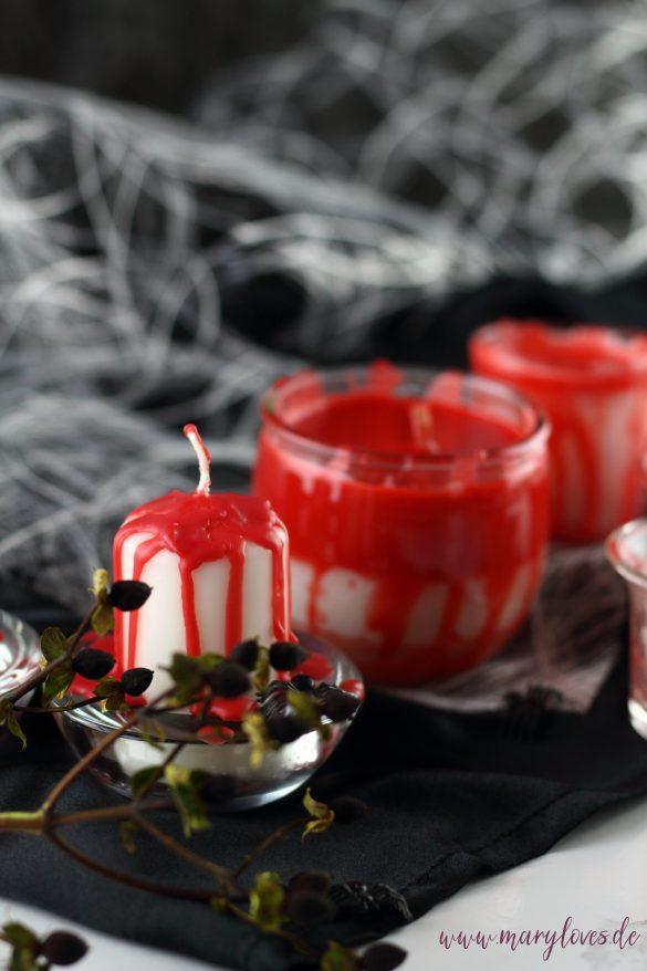 Blutige Halloween-Dekoration mit DIY Kerzen