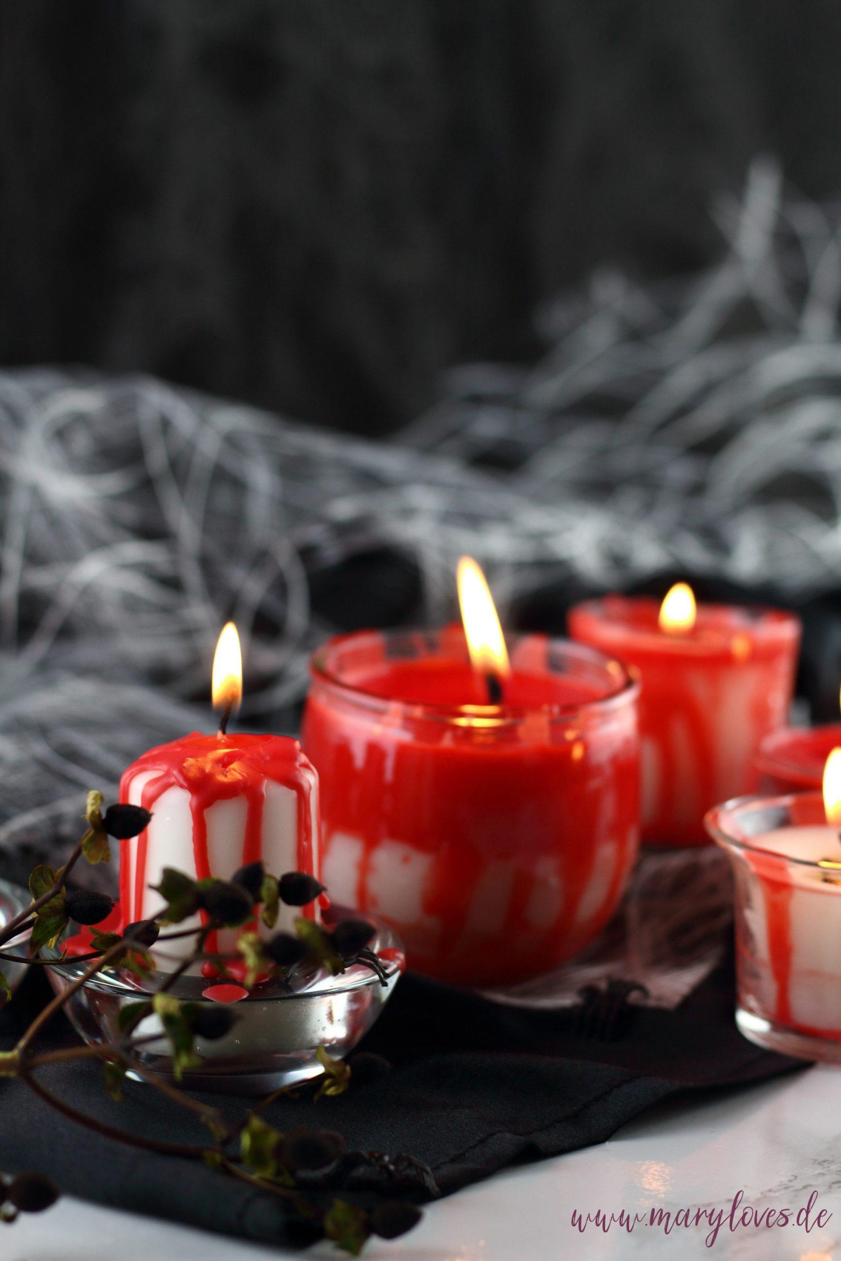Blutige Halloween-Kerzen aus Kerzenresten selber machen