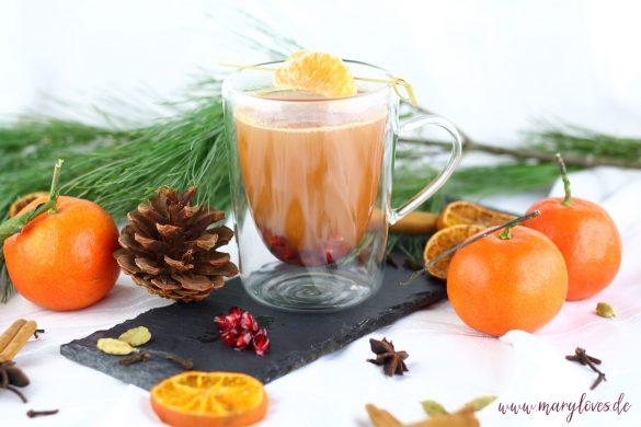 Wärmender Mandarinen-Granatapfel-Punsch für Kinder & Erwachsene
