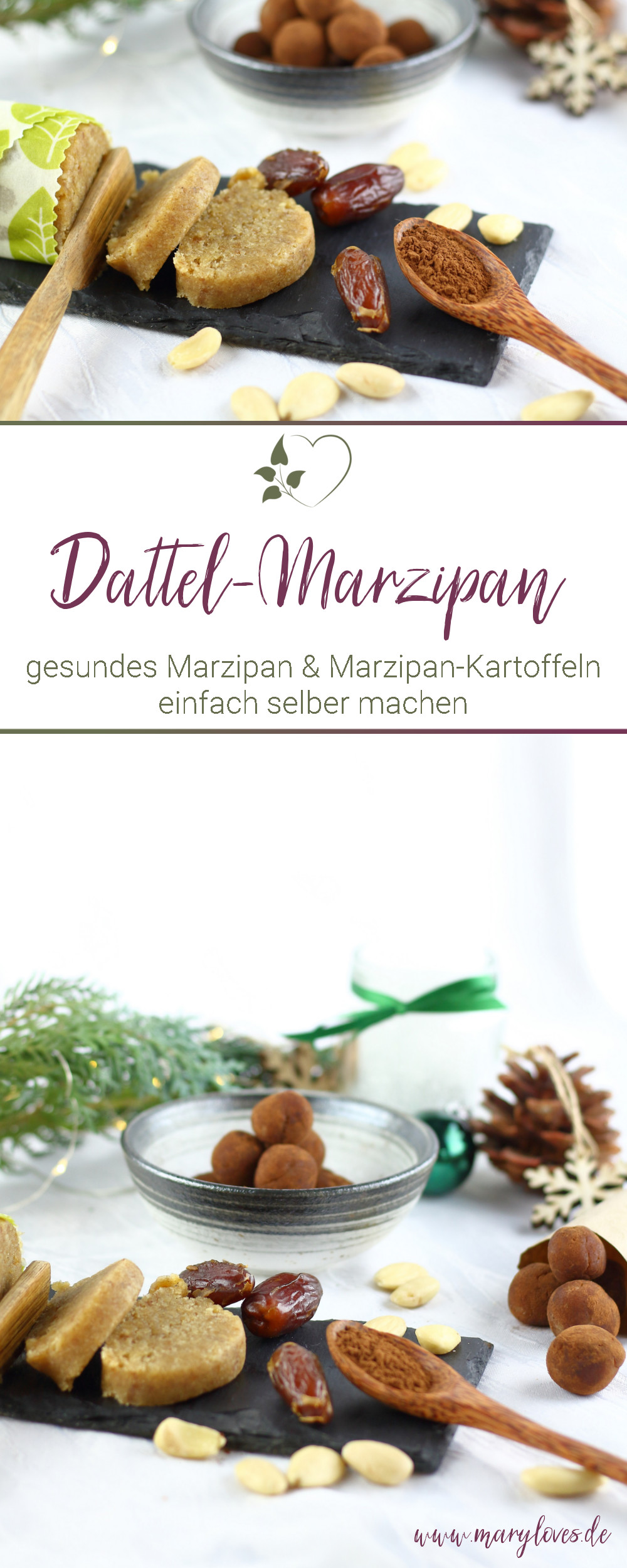 Selbstgemachtes Dattel-Marzipan & gesunde Marzipan-Kartoffeln - #marzipan #dattelmarzipan #zuckerfrei #zuckerfreiesmarzipan #marzipankartoffeln #küchengeschenk