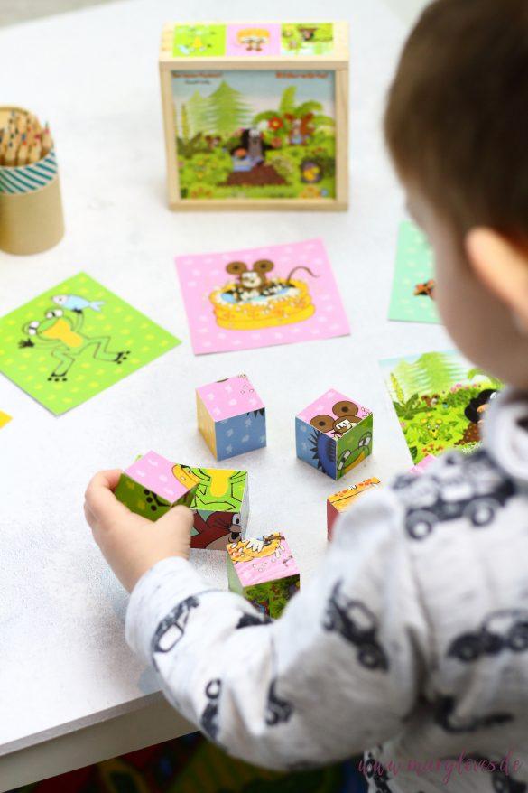 11 Spiel- & Beschäftigungsideen für Kleinkinder zu Hause -Idee 1: Puzzle Bilderwürfel als Spielidee für 2-Jährige