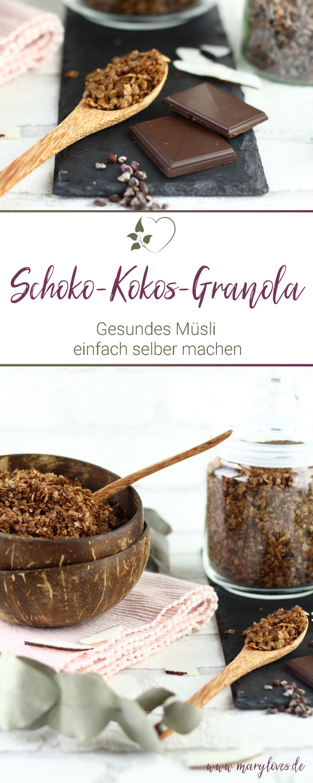 Schoko-Kokos-Granola als gesundes Frühstück - #granola #müsli #zuckerfrei #vegan #schokokokosgranola #schokomüsli #schokogranola