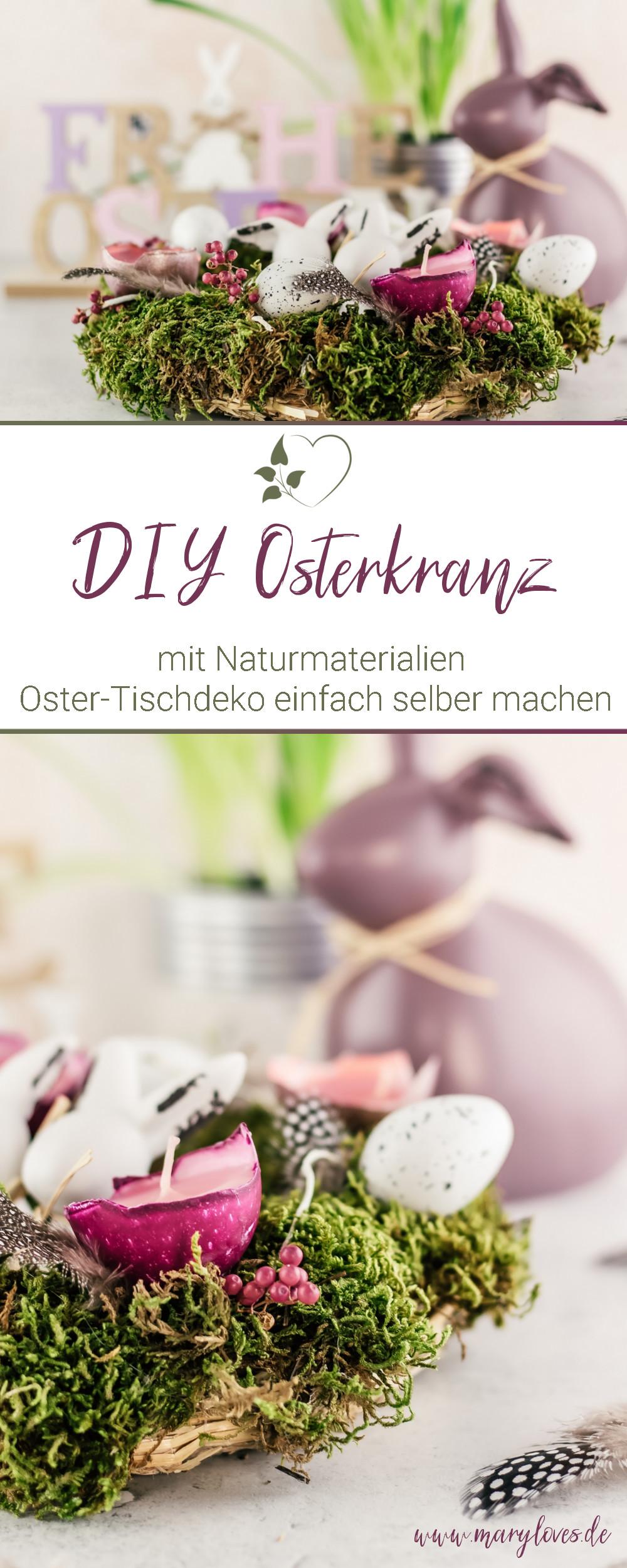 DIY Osterdeko - Osterkranz aus Naturmaterialien selber machen - #osterdeko #osterkranz #ostern #osterdiy #osterbasteln #naturmaterialien #frühling