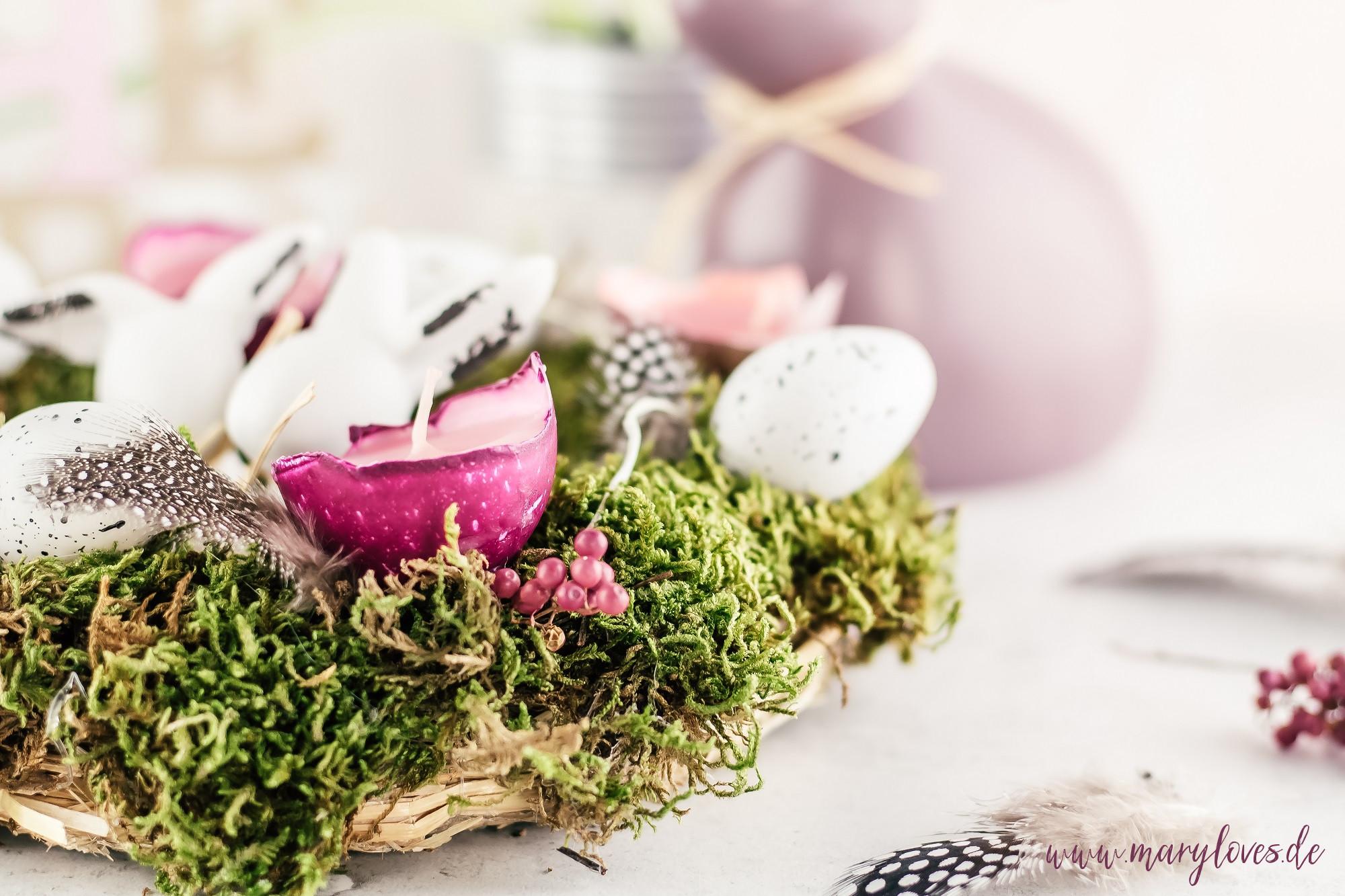 DIY Tischdeko für Ostern: Ein Osterkranz mit Eierschalenkerzen