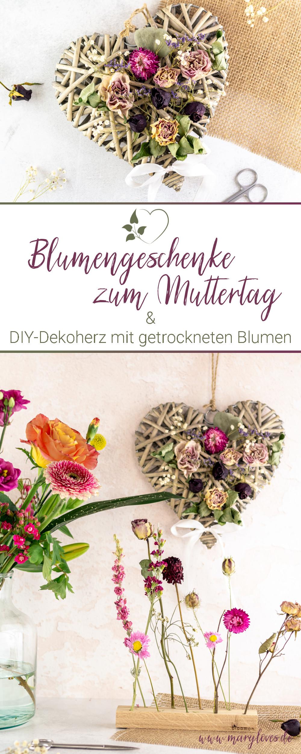 [Anzeige] Besondere Blumengeschenke zum Muttertag & DIY-Dekoherz mit getrockneten Blumen - #muttertag #geschenkidee #blumen #blumengeschenk #diygeschenk #muttertagsgeschenk