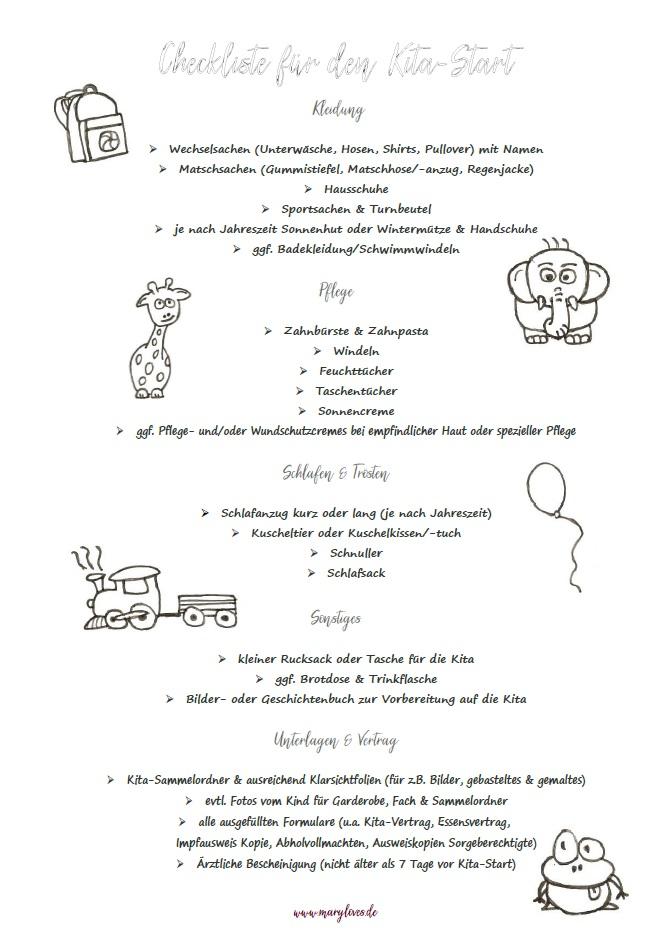 Checkliste Kita-Start schwarz-weiß
